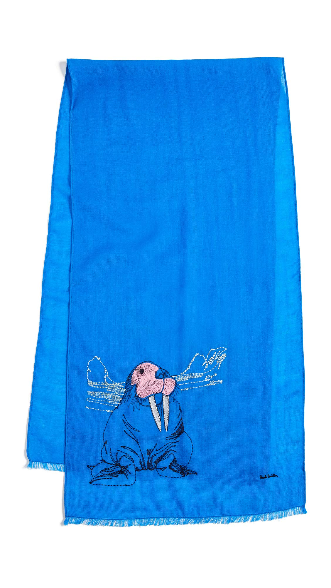 Paul Smith Men's Arctic Animals Embroidered Scarf, Blue, One Size