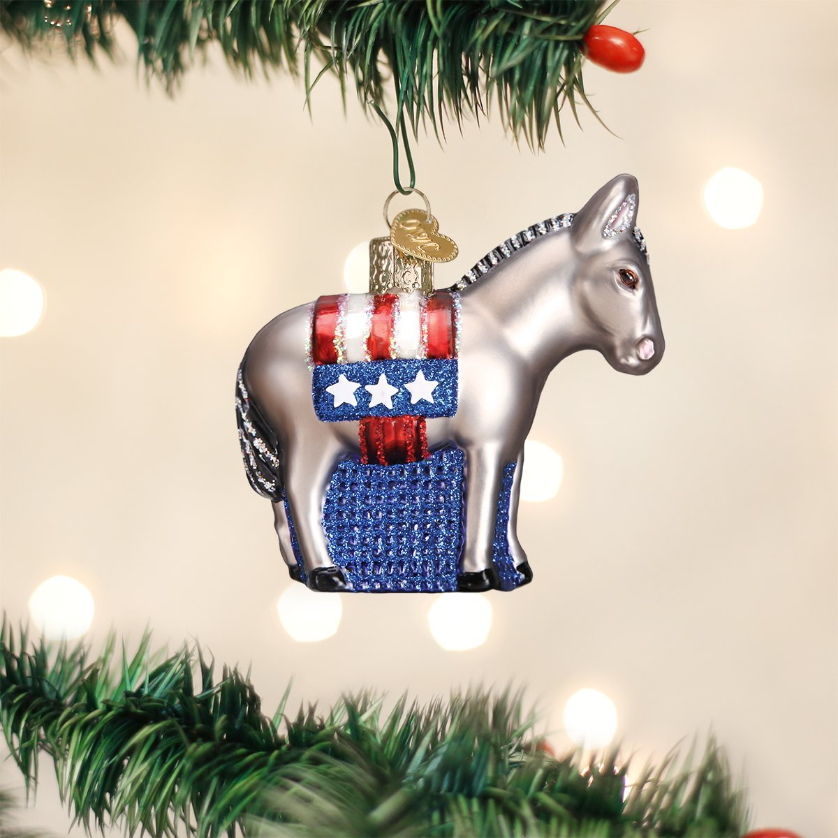 Amazon.com: Old World Christmas Democratic Donkey Glass Blown ...