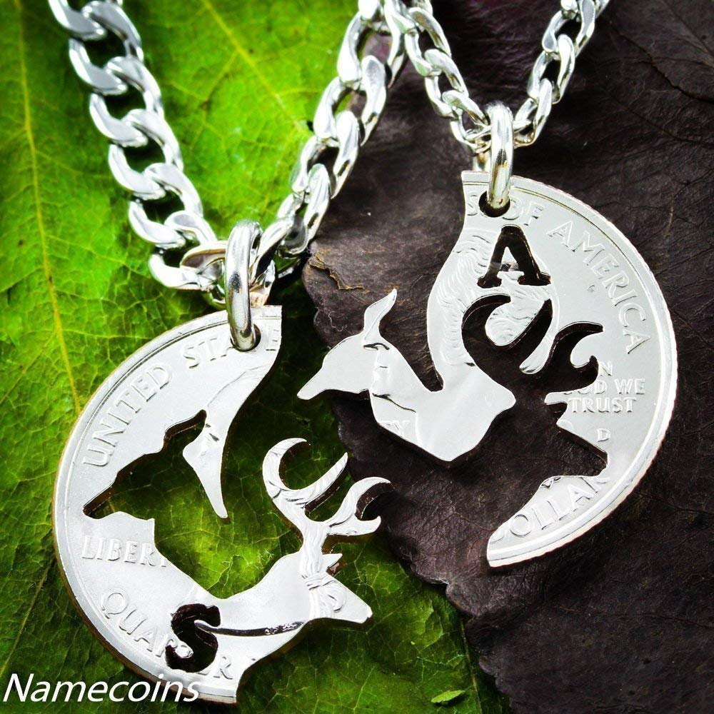 b7607ead84 Amazon.com: Buck and Doe Necklace Set for Couples, Interlocking Hand Cut  Coin, By NameCoins: Handmade