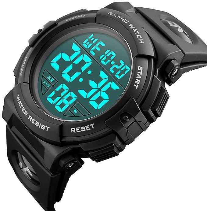 Relojes de pulsera digitales CIVO, deportivos, militares, con grandes números. A prueba de agua hasta 50 m. Diseño simple. Reloj negro de pulsera casual ...