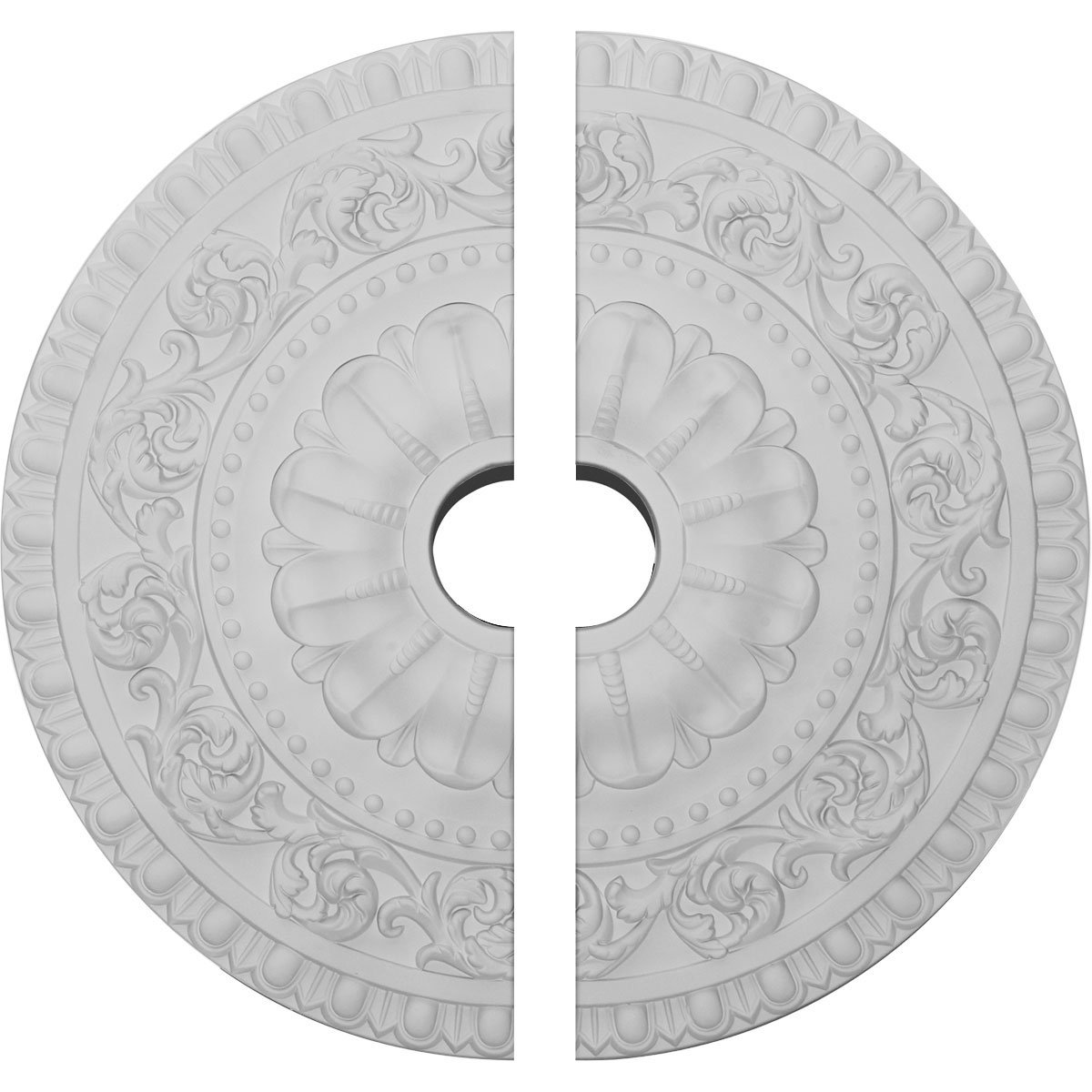 Ekena Millwork CM23VA2 23 OD ID x 2 1/8'' P Vaduz Ceiling Medallion, Two Piece (Fits Canopies up to 3 1/2''), Factory Primed White