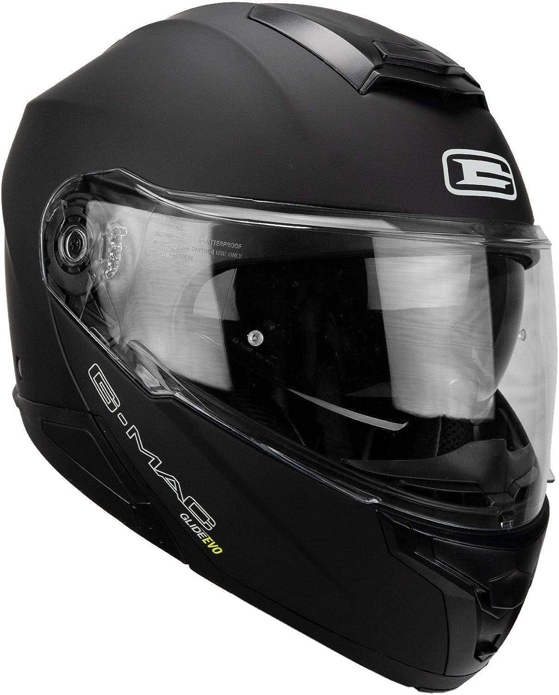 color negro satinado Casco de moto con tapa frontal G-Mac Glide Evo