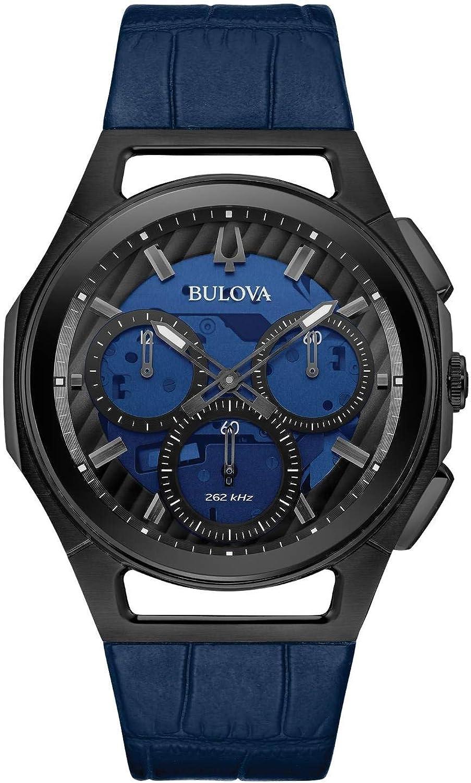 Bulova Curv Reloj cronógrafo con correa de cuero azul 98A232 para hombre