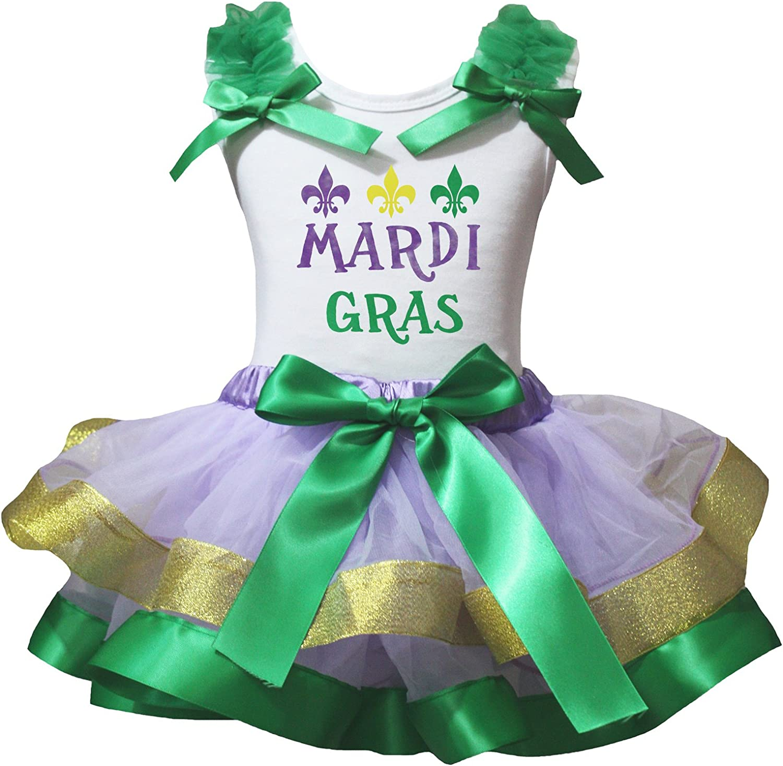 Petitebella Mardi Gras White Shirt Green Petal Skirt Set Nb-8y