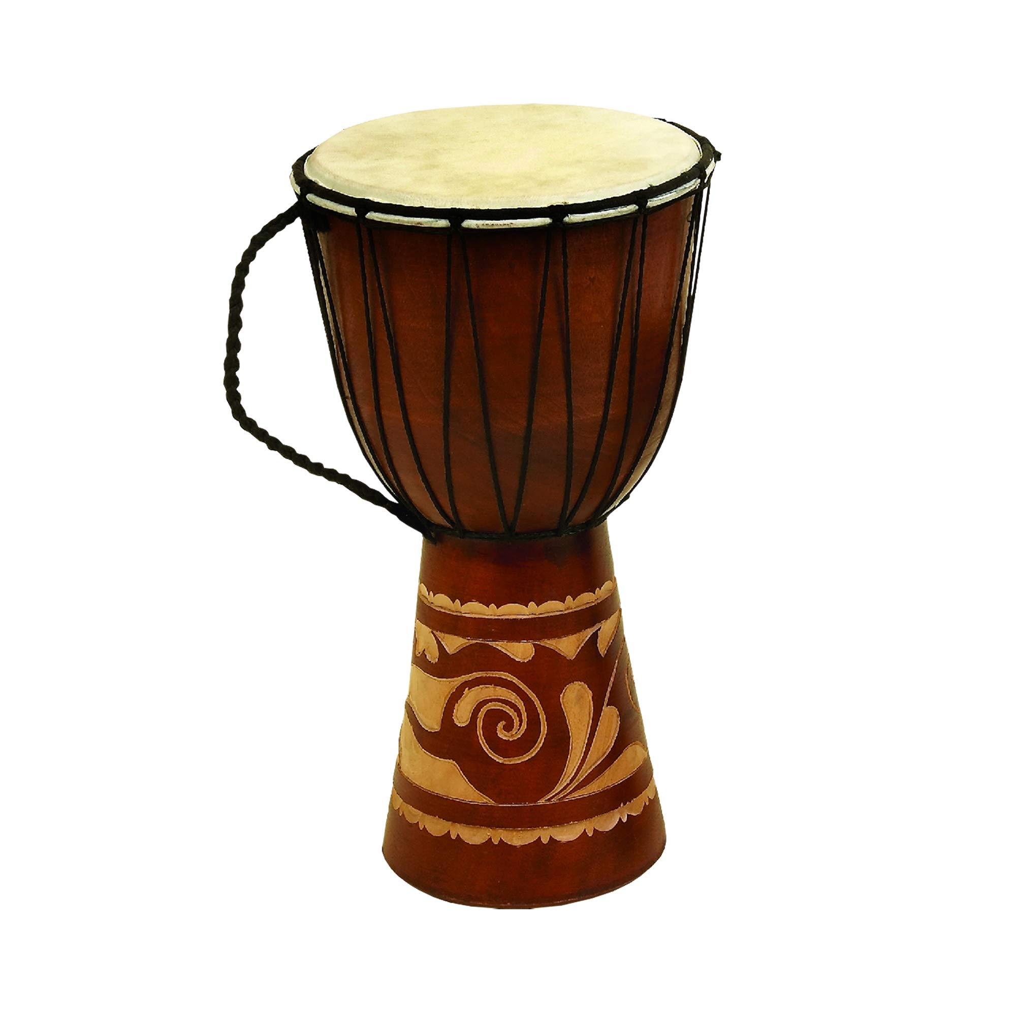 Benzara Decorative Wood and Faux Leather Djembe Drum with Side Handle, Large, Brown and Cream,