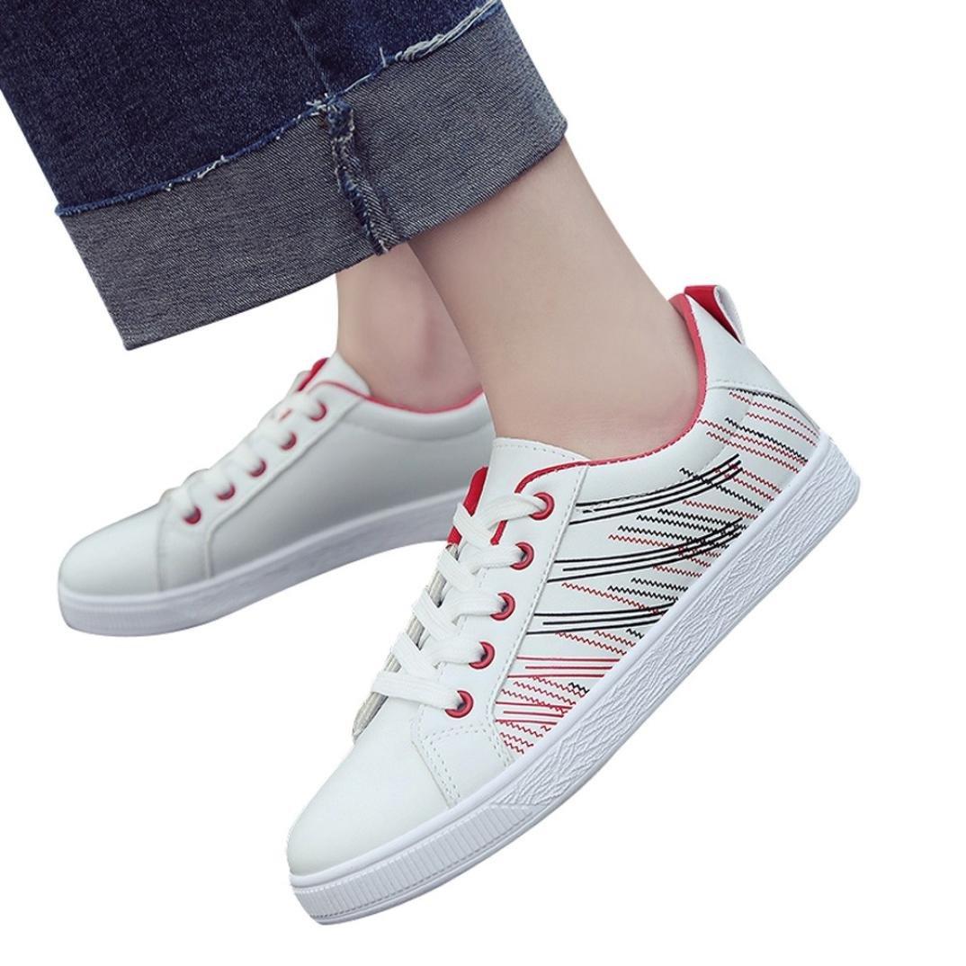 VICGREY Scarpe Donna Eleganti,Scarpe Casual Student Sportive Running Sneakers, Scarpe Da Ginnastica Leggere Stringate Scarpe Da Passeggio Scarpe Singolo Rosso