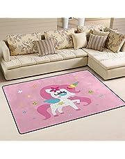 WOZO Unicorn Girl Pink Area Rug Rugs Non-Slip Floor Mat Doormats Living Room Bedroom 60 x 39 inches