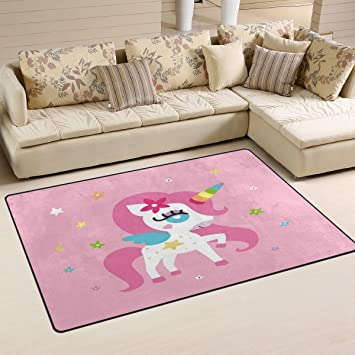 Amazon Com Wozo Unicorn Girl Pink Area Rug Rugs Non Slip Floor Mat