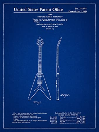 Amazon gibson flying v 1958 patent guitar blueprint style art gibson flying v 1958 patent guitar blueprint style art print 8x10 inch malvernweather Images