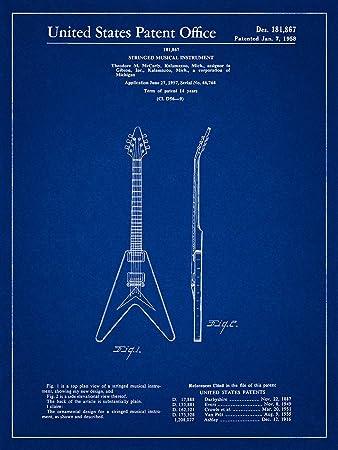 Amazon gibson flying v 1958 patent guitar blueprint style art gibson flying v 1958 patent guitar blueprint style art print 8x10 inch malvernweather Gallery