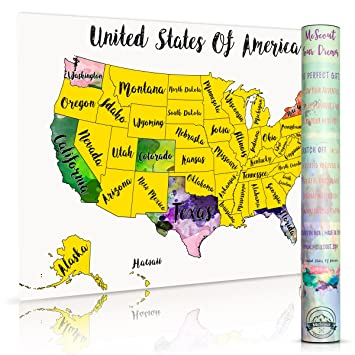 Amazoncom Scratch Off Map USA Travel Watercolor By McScout Maps - Us trael map