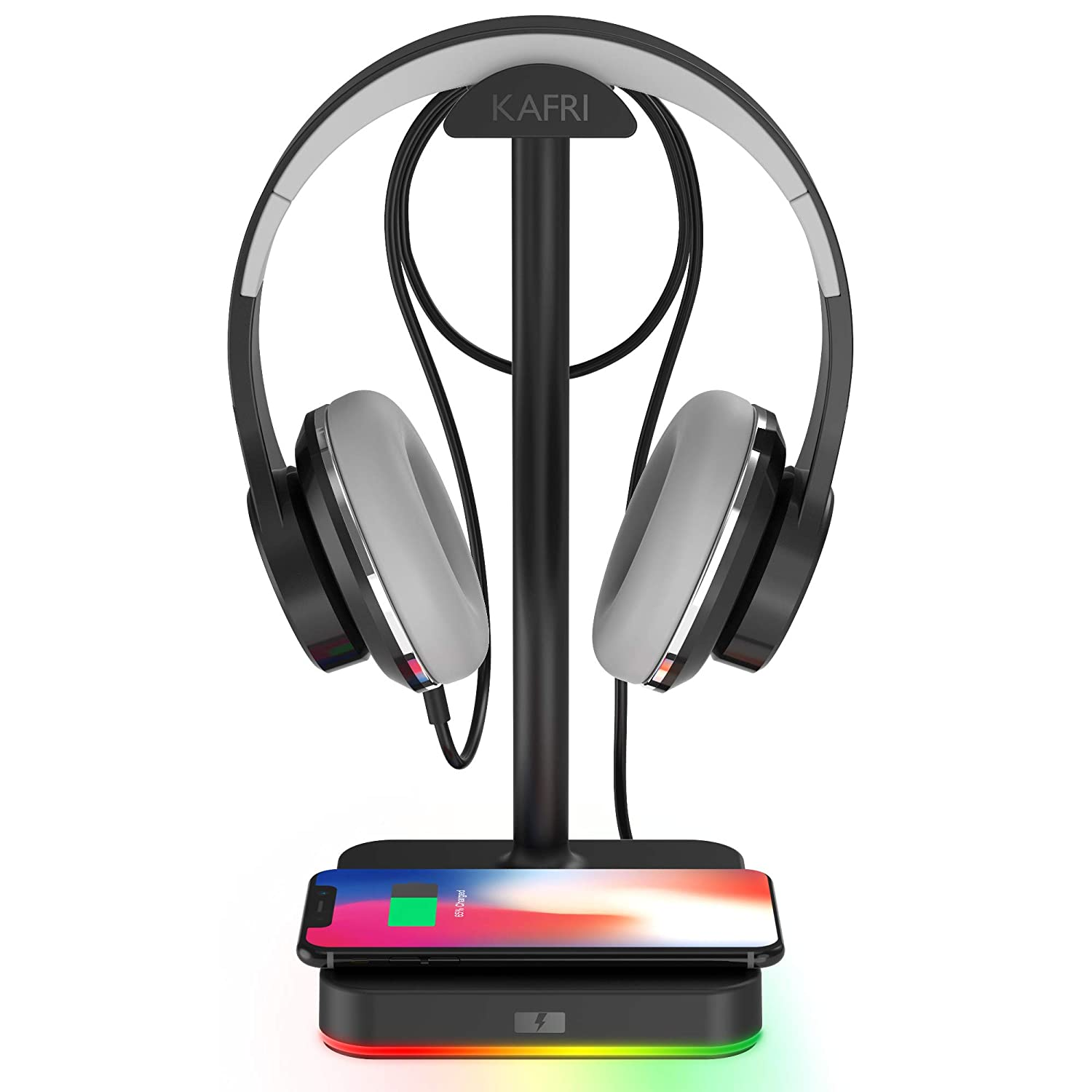 RGB Headphone Stand with Wireless Charger KAFRI Desk Gaming Headset Holder Hanger Rack with 10W/7.5W Fast Charge QI Wireless Charging Pad - Suitable for Gamer Desktop Table Game Earphone Accessories
