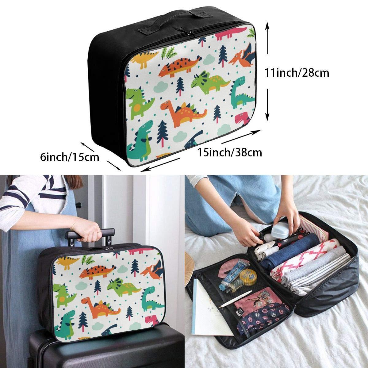 Cartoon Dinosaur Set Travel Duffel Bag Casual Large Capacity Portable Luggage Bag Suitcase Storage Bag Luggage Packing Tote Bag Weekend Trip