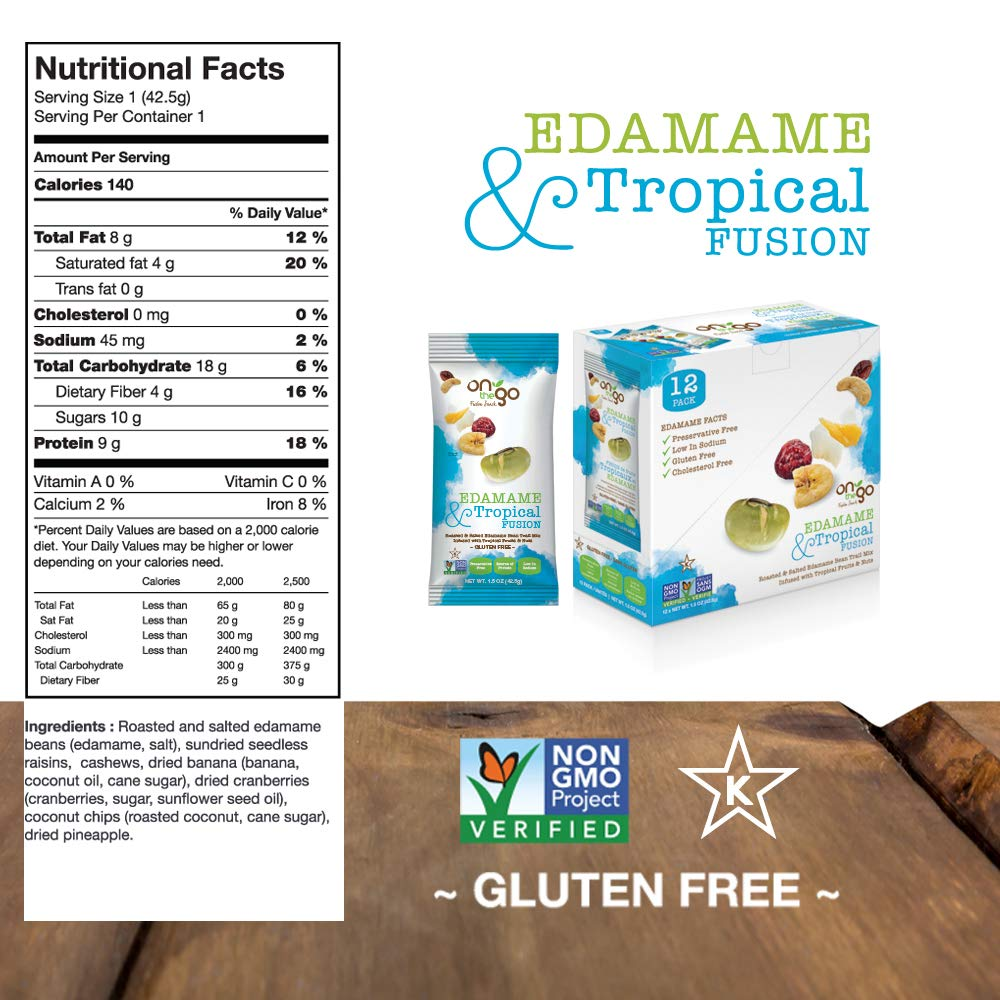 On The Go Roasted & Salted Edamame Bean Trail Mix blended with Tropical Fruits and nuts, 1.5 OZ (Pack - 36) by On The GoFusion Snack (Image #4)
