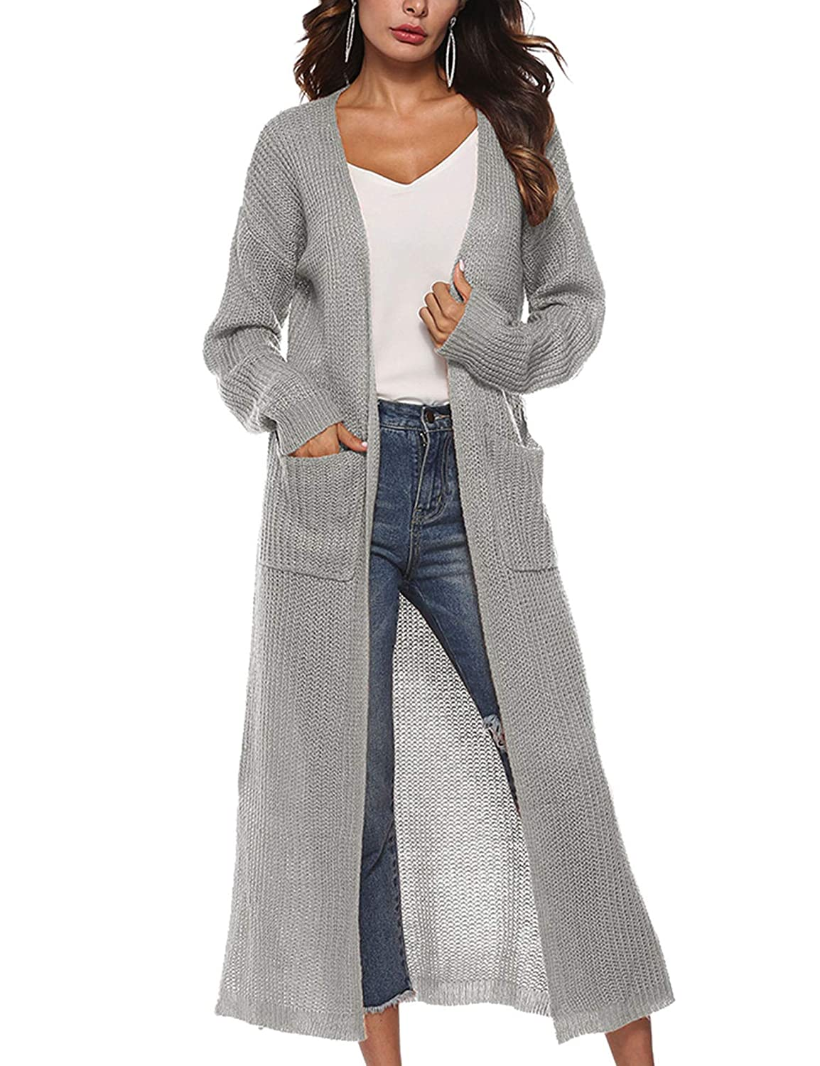 WISREMT Women's Long Sleeve Irregular Split Thick Sweater Cardigan with Pocket