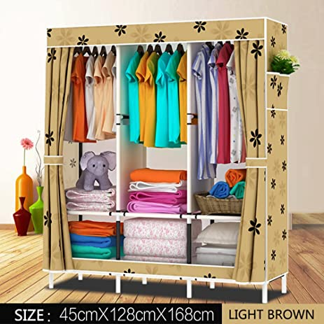 FNGEEN 66inch Portable Wardrobe Stainless Steel +Oxford Cloth Closet  Organizer Storage With Cover And Side