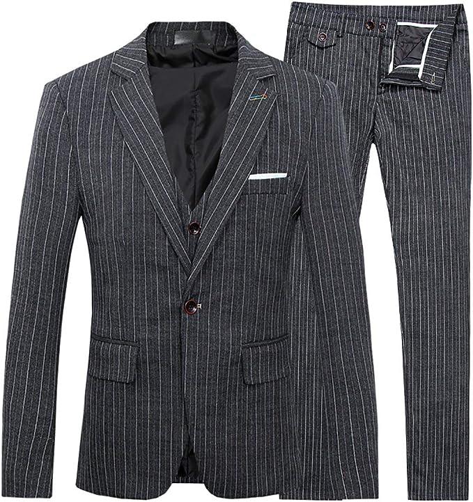 Men's Stripe Center Vent 1 Button 3-Piece Suit