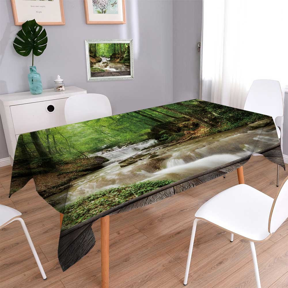 """Philiphome Rectangle Tablecloth Forest Waterfall and Rocks Covered with Moss and Wood pier Decorative Tablecloths for Kitchen Room 60""""x140"""""""