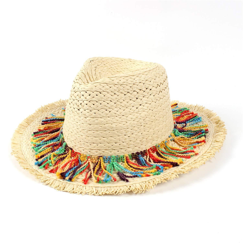 100/% Raffia Straw Women Summer Travel Beach Sun Hat Seaside Tassel Floppy Wide Brim Panama Sunbonnet
