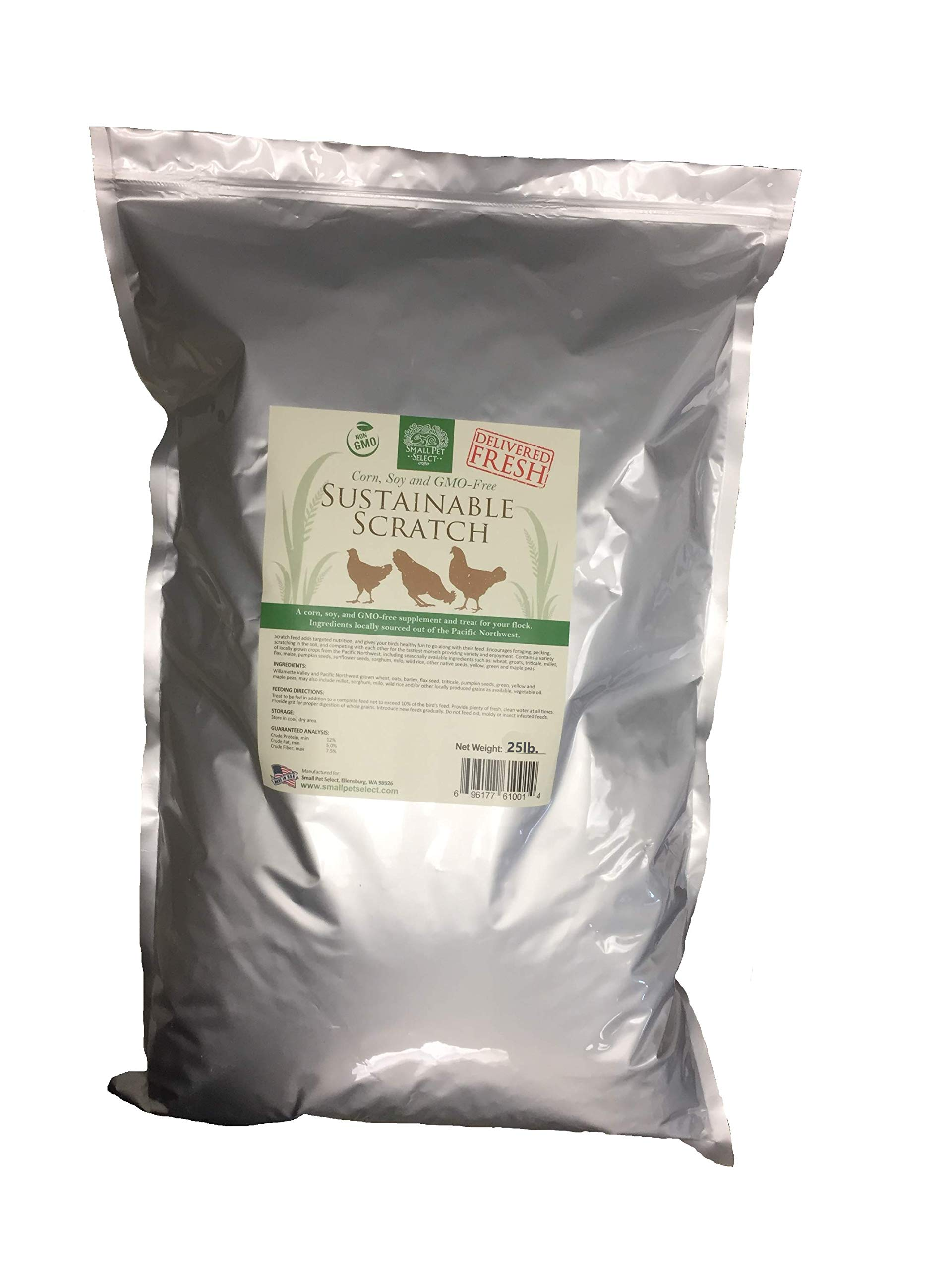Small Pet Select Sustainable Chicken Scratch, Non-GMO, Corn Free, Soy Free. Locally Sourced & Made in Small Batches. 25 lb by Small Pet Select