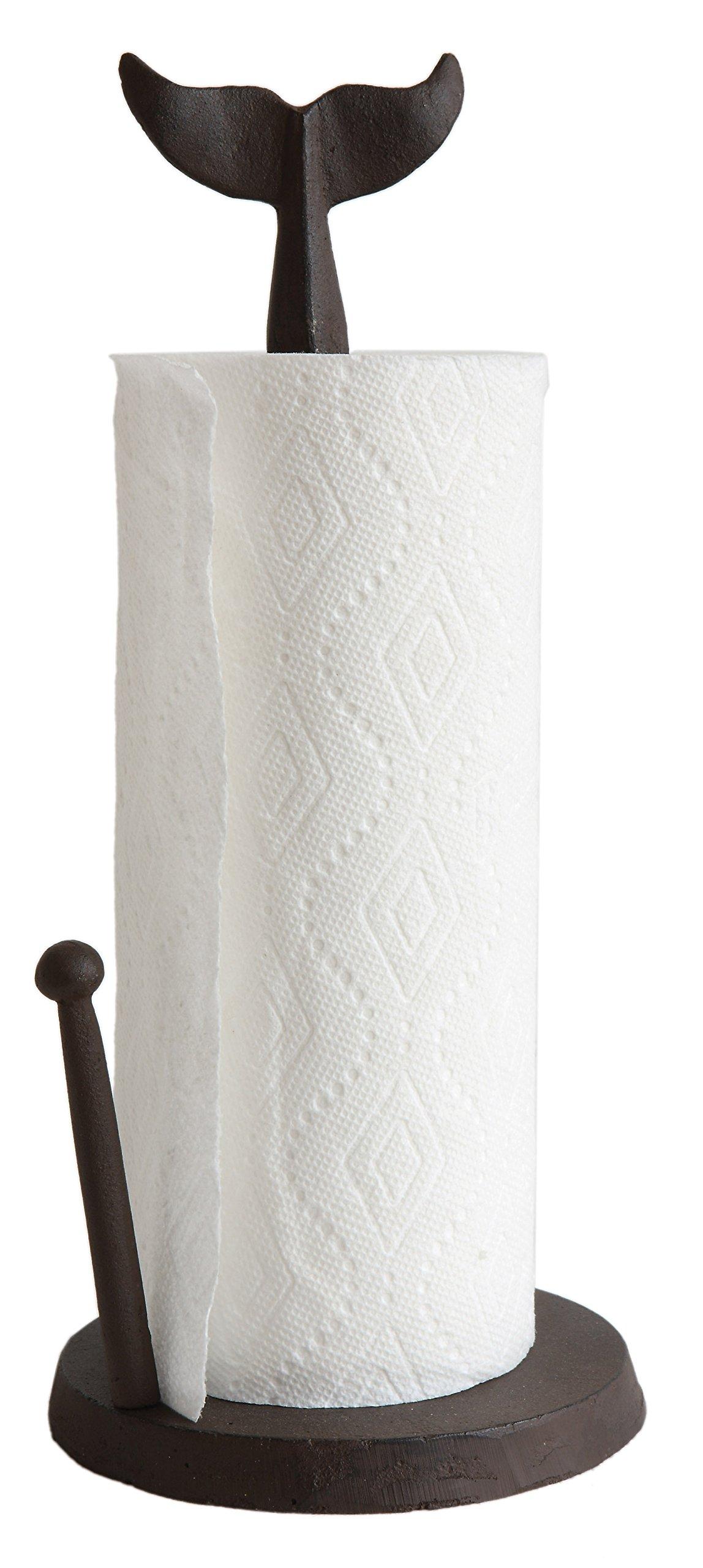 Creative Co-Op DA7224 Cast Iron Whale Tail Paper Towel Holder
