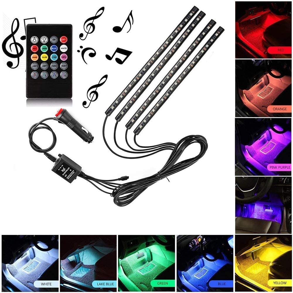 Sanhezhong Car LED Strip Light, 4pcs 72 LED DC 12V Multicolor Music Car Interior Light LED Under Dash Lighting Kit with Sound Active Function and Wireless Remote Control, Car Charger