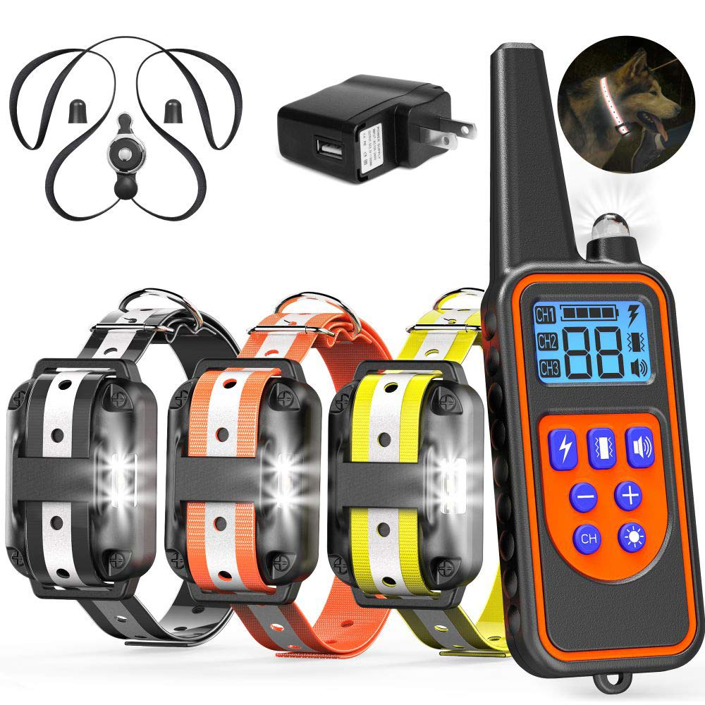 Veckle Dog Training Collar, 2019 Upgraded Rechargeable Shock Collar for 3 Dogs Waterproof Dog Shock Collar with Remote, Beep, Vibration Dog Static Collar for Large Medium Dogs with Charger Adapter
