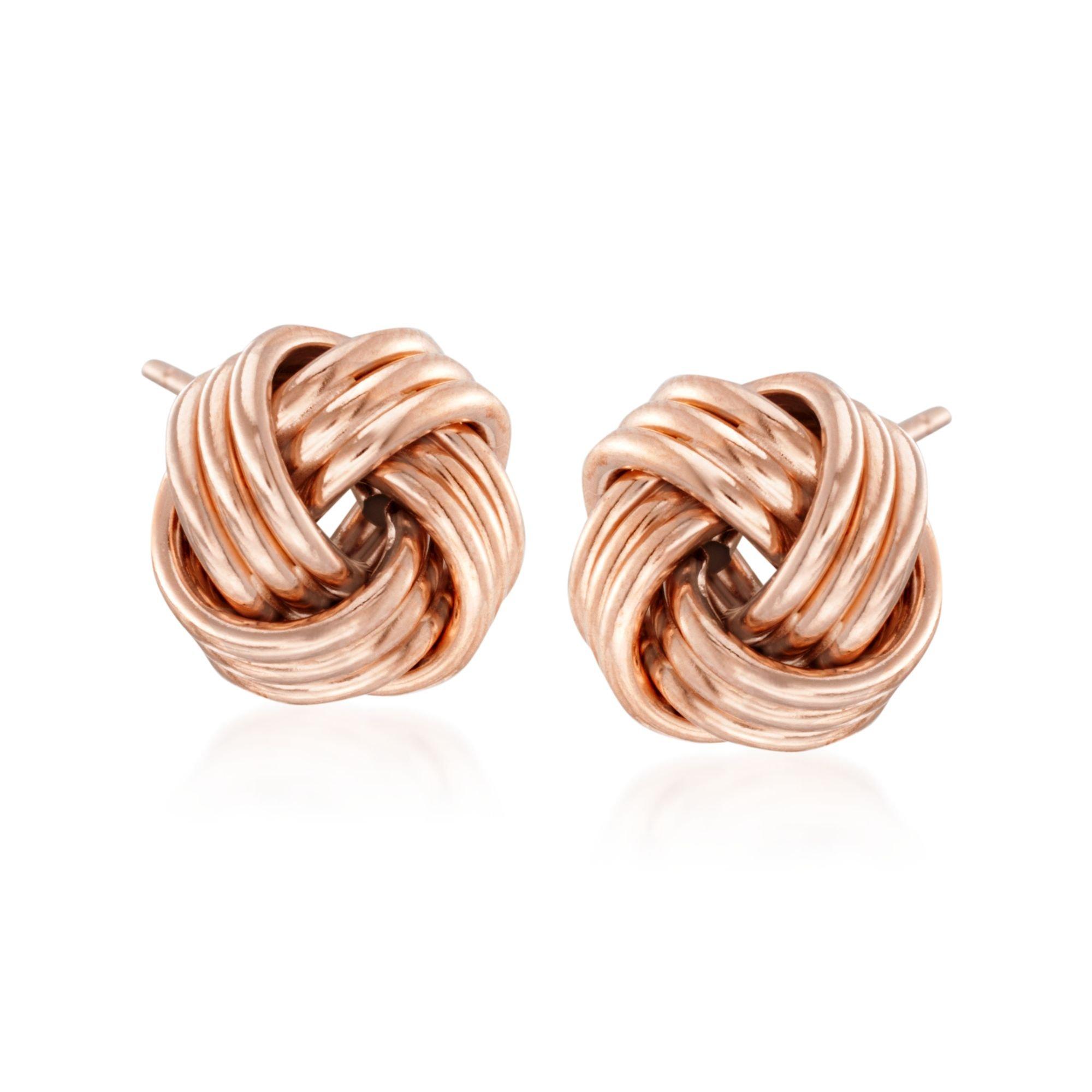 Ross-Simons 14kt Rose Gold Love Knot Stud Earrings