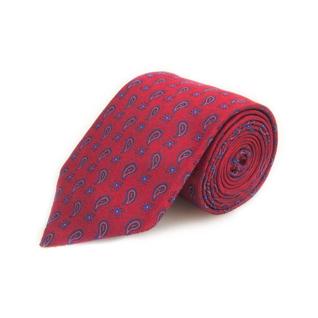 Robert Talbott Best Of Class Red And Blue Small Paisley Woven Silk Tie