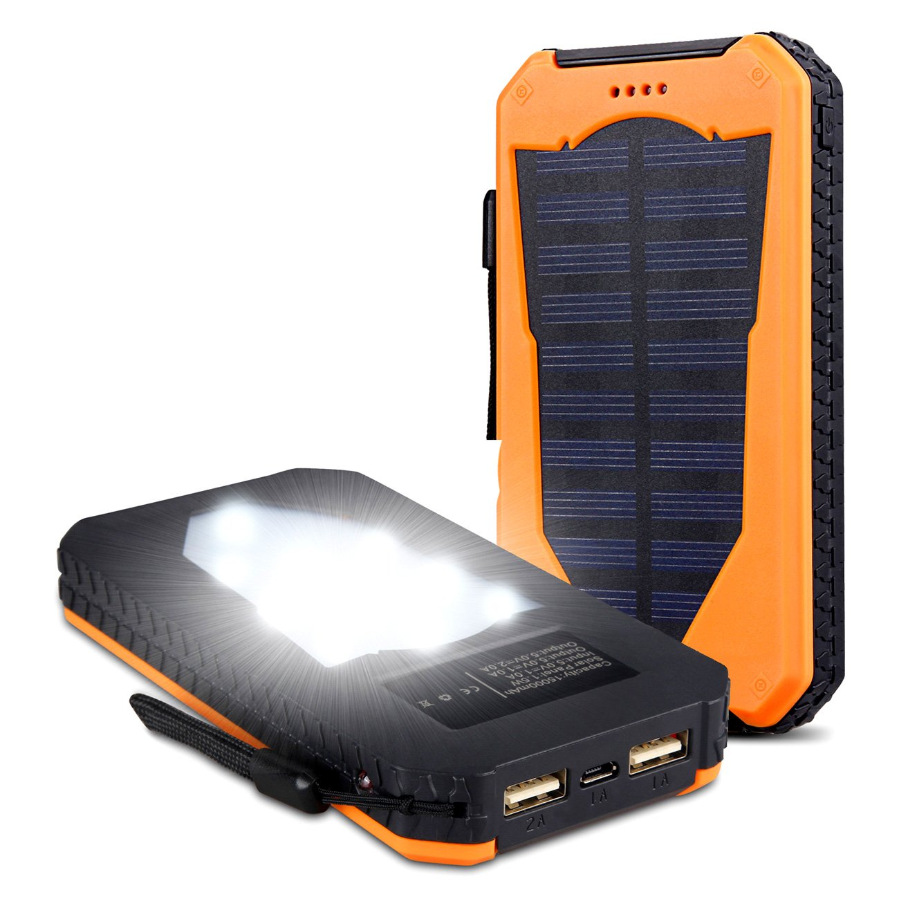Foreverrise Solar Charger 15000mAh High Capacity Solar Panel Power Bank Portable Battery Pack Bright LED lights Dual USB Solar Battery Charger for Cell Phone,Tablet and othersUSB Devices(Orange)