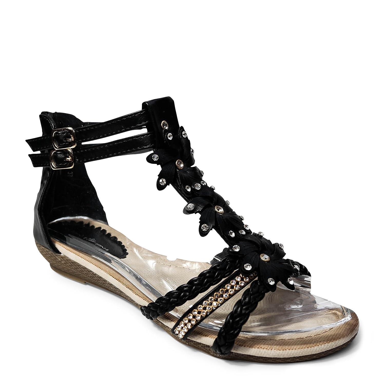 Damen Sandalen Sandaletten ST98 Keilabsatz Blumen Glitzer Zehentrenner  39 EU|Schwarz