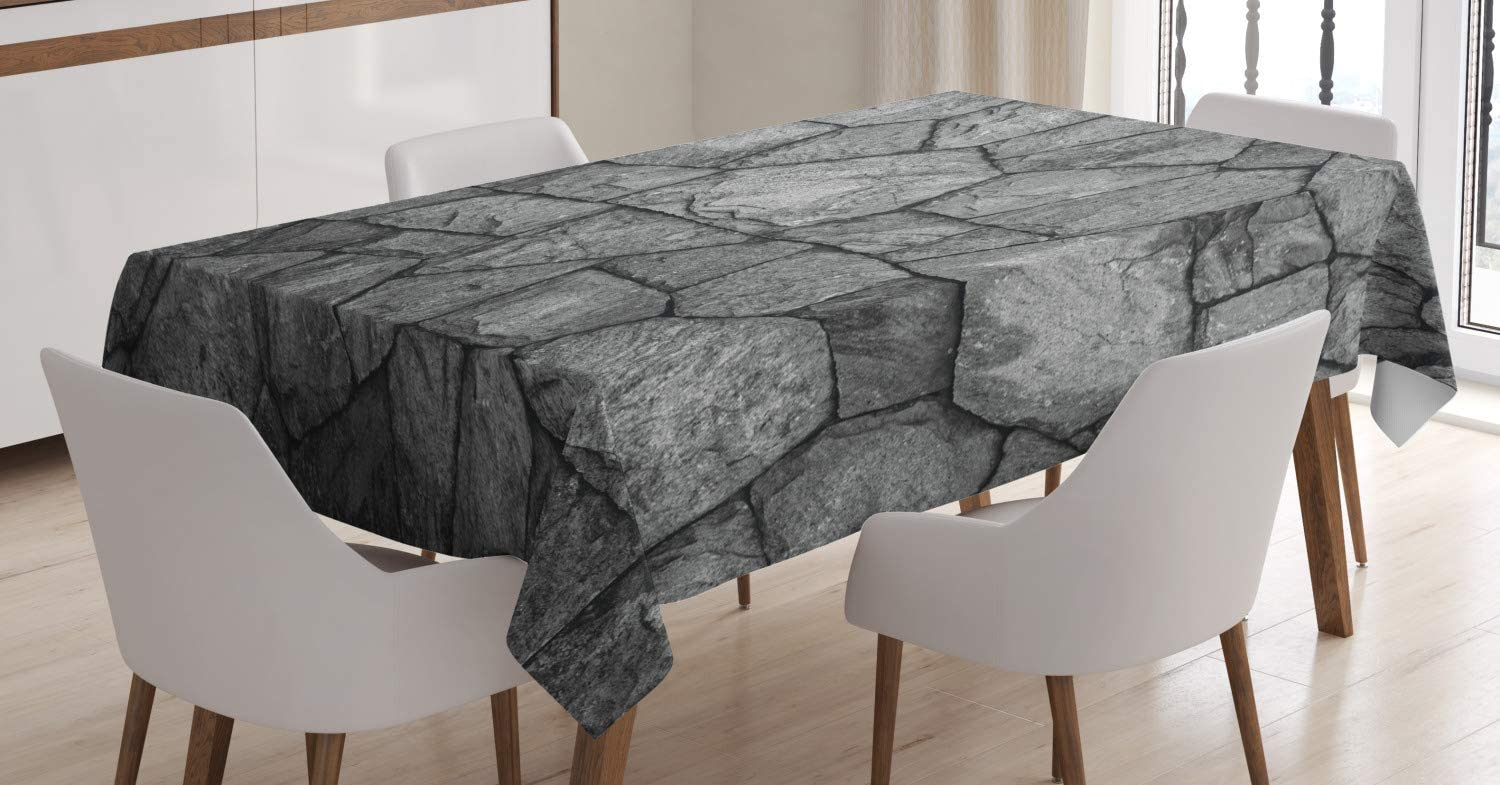 "Ambesonne Grey Tablecloth, Stone Wall Texture Image Rough Rusty Blocks Obsolete Structure Antique Grunge Weathered, Rectangular Table Cover for Dining Room Kitchen Decor, 60"" X 90"", Dark Grey"