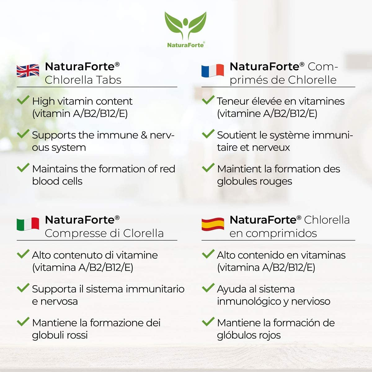 NaturaForte Chlorella 600 Comprimidos de 250mg - 100% pura. Algas Chlorella Vulgaris sin aditivos, con clorofila, vitamina A / B2 / E. Preparado a ...