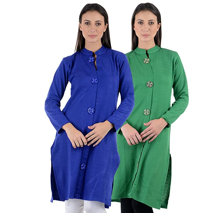 b0ff8a5db0f NumBrave Women s Blue   Green Woollen Kurti (Pack of 2)  Amazon.in ...