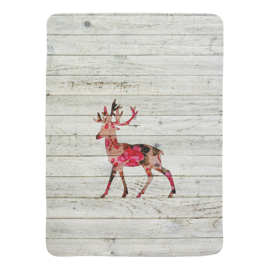 Zazzle Vintage Floral Deer Antlers Gray Retro Wood Stroller Blanket