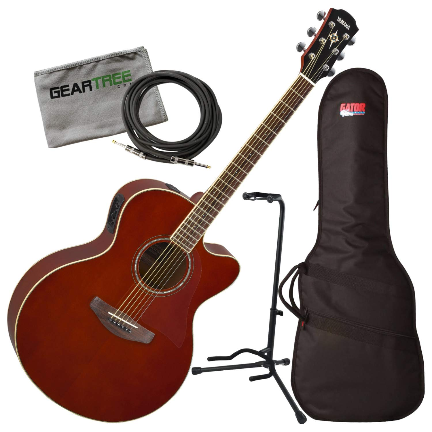 Amazon.com: Yamaha CPX600 Medium Jumbo Root Beer Acoustic-Electric Guitar w/Bag, Stand, Clot: Musical Instruments