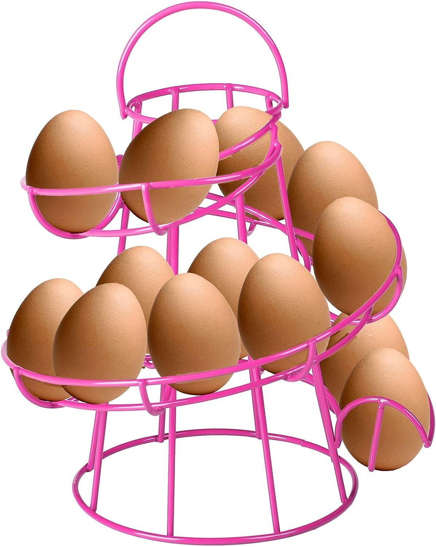 peut contenir jusqu/à 12//œufs style vintage CrazyGadget/® Panier /à /œufs m/étallique en forme de toboggan en spirale avec poign/ée de transport 11/coloris diff/érents au choix
