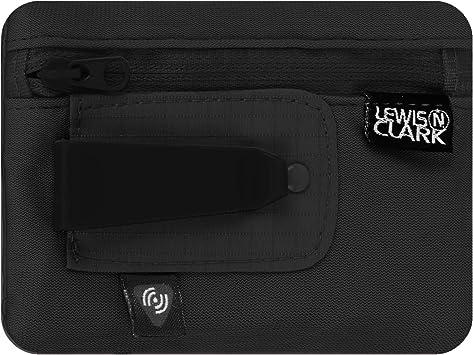 Lewis N. Clark RFID-Blocking Hidden Clip Stash Travel Belt Wallet, Black, One Size
