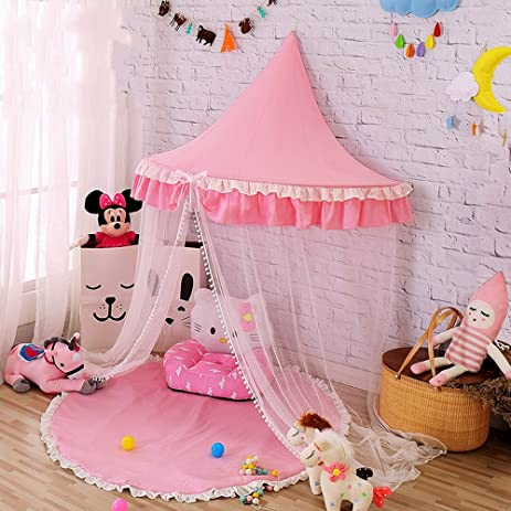 Hanging Bed Canopy Princess Play Tent and Bed Canopy Round Hoop Netting Mosquito Net Bedroom Decor & Amazon.com: Hanging Bed Canopy Princess Play Tent and Bed Canopy ...