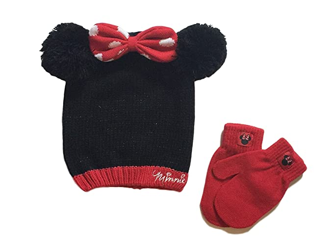 ec6d0da94288d Amazon.com  Minnie Mouse Baby Girls Toddler Winter Hat   Mitten Set ...