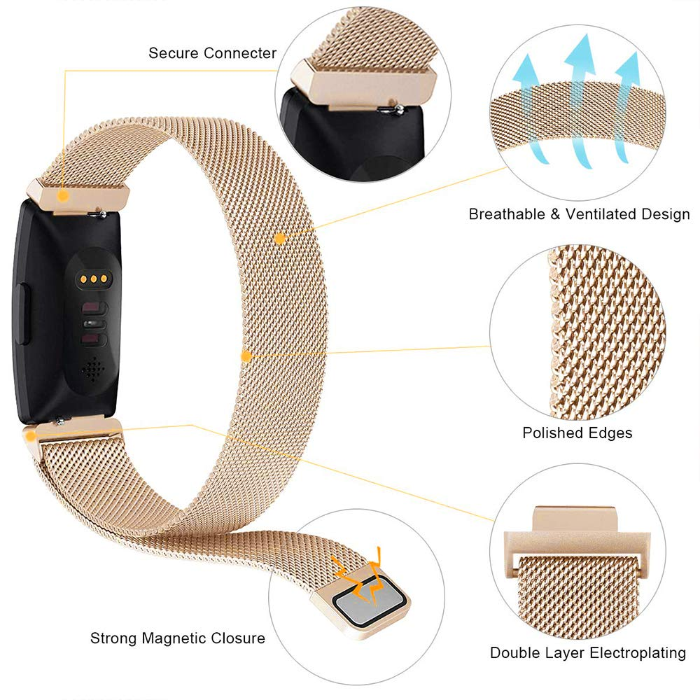 Stainless Steel Mesh Men Women Replacement Strap Bracelet Wristband Compatible with Fitbit Inspire /& Inspire HR Small Large NANW Metal Bands Compatible with Fitbit Inspire HR//Inspire