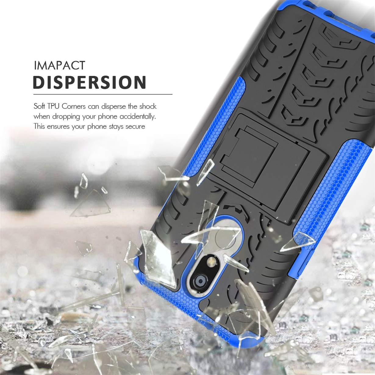 Numy LG K40 Case,LG K12 Plus,LG X4 2019 Case,Dual Layer Shockproof,W HD Screen Protector,Highly Protective w Kickstand Hard PC /& Soft TPU Phone Case,Attractive Tire Appearance-Blue