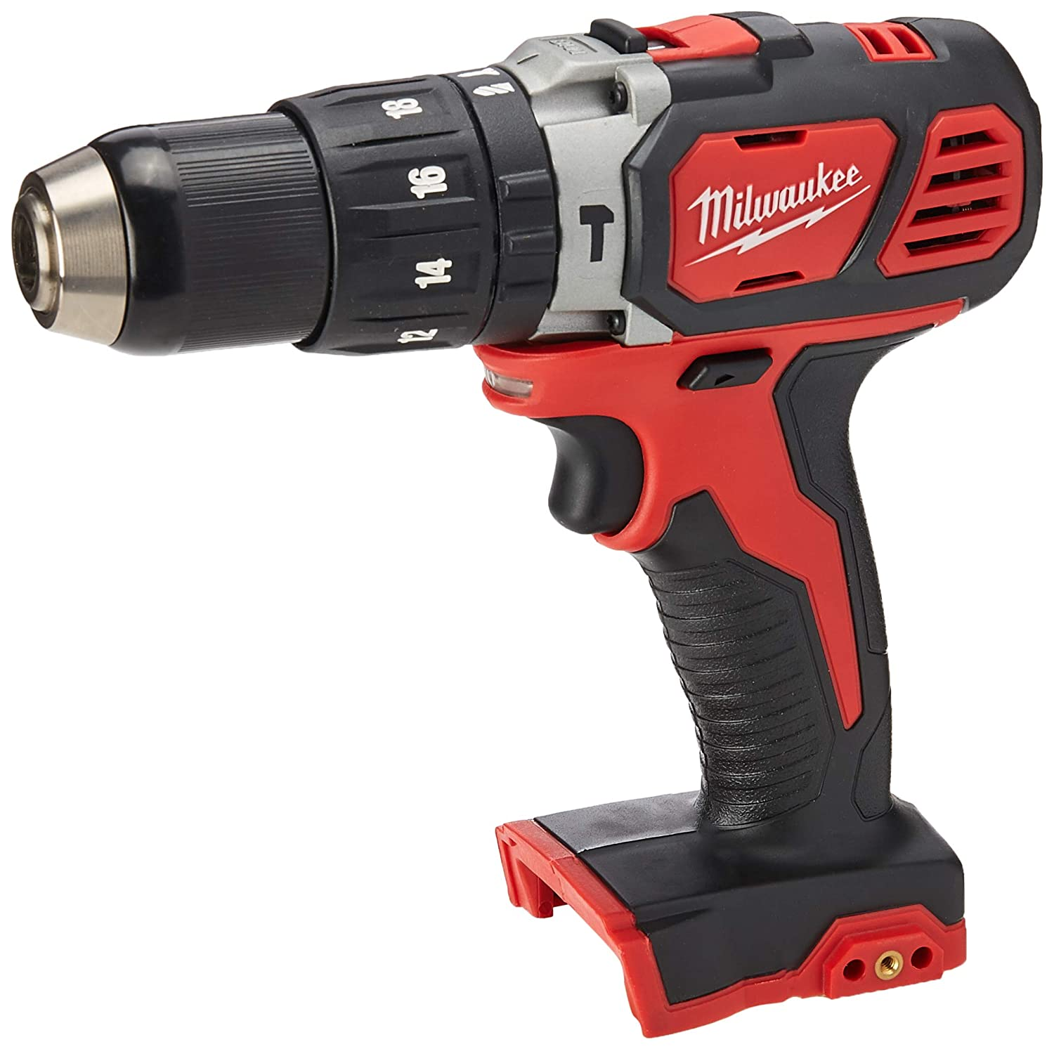 Milwaukee 2607-20 1/2 Inch 1,800 RPM 18V Lithium Ion Cordless Compact Hammer Drill / Driver with Textured Grip, All Metal Gear Case, and LED Lighting