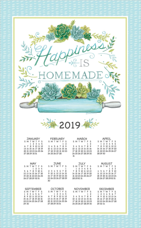 2019 Garden Succulents Deb Strain Linen Calendar Towel (F3359)