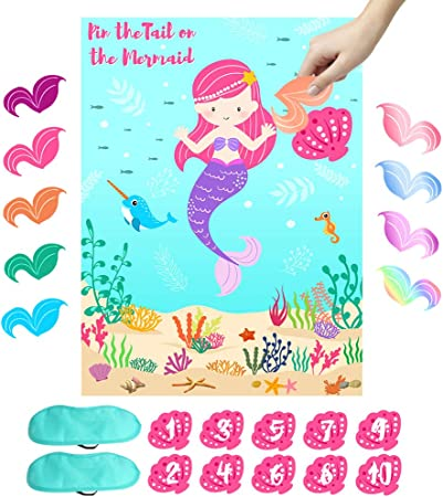 Amazon.com: OurWarm Pin the Tail on the Mermaid juego de ...
