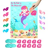 OurWarm Pin The Tail on The Mermaid Party Game for Kids, Under The Sea Party Games with 36 Reusable Tails for Kids…