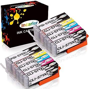 Incarler PGI-570 XL CLI-571 XL Cartuchos de Tinta Compatible con ...