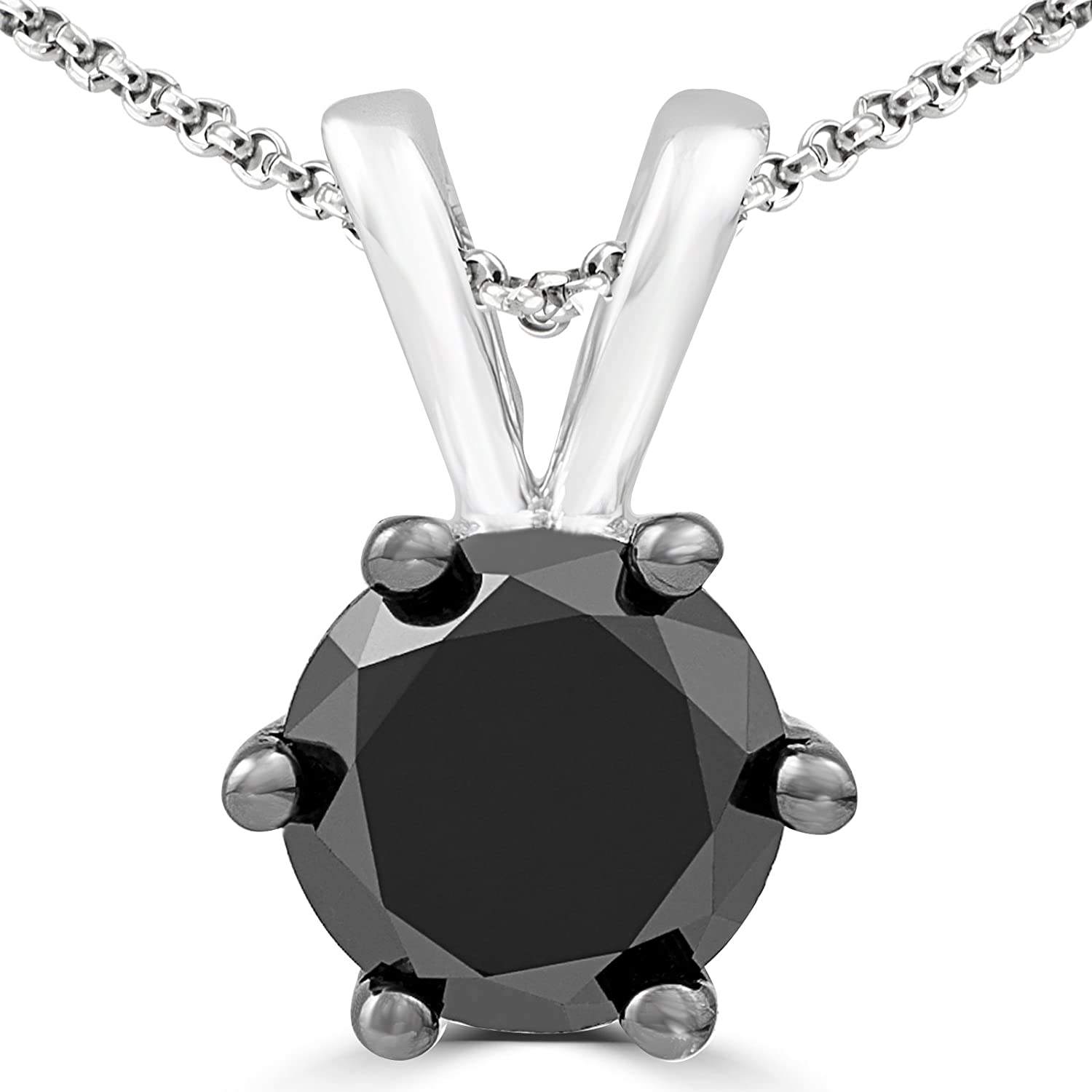 2CT Round Black Diamond 6 Prong Solitaire Pendant 14K White Gold Chain Necklace