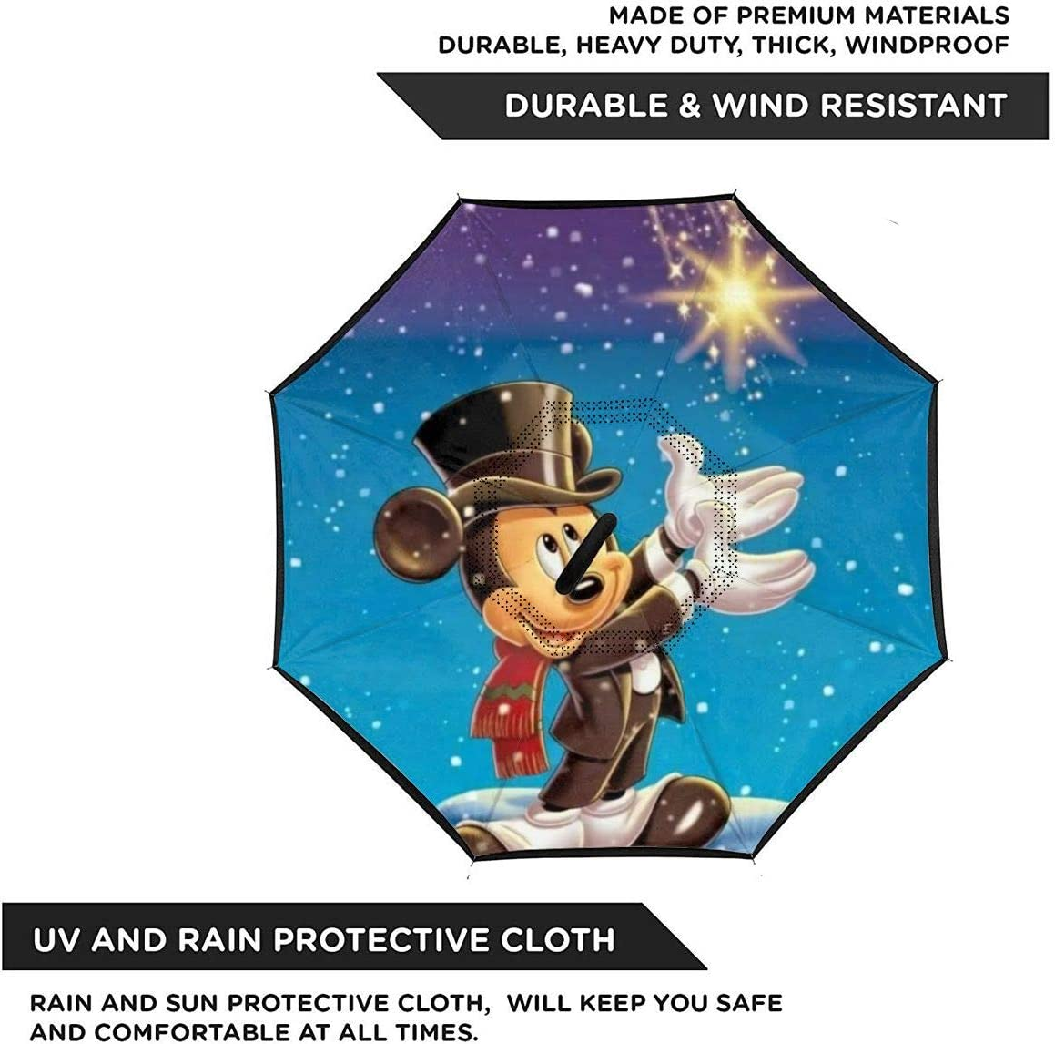 Mickey Mouse Car Reverse Umbrella Windproof And Rainproof Double Folding Inverted Umbrella With C-Shaped Handle UV Protection Inverted Folding Umbrellas