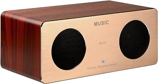 DYJ 10 W Bluetooth altavoces con Super Bass Altavoz, madera casa con dos Subwoofers pasivos: Amazon.es: Jardín